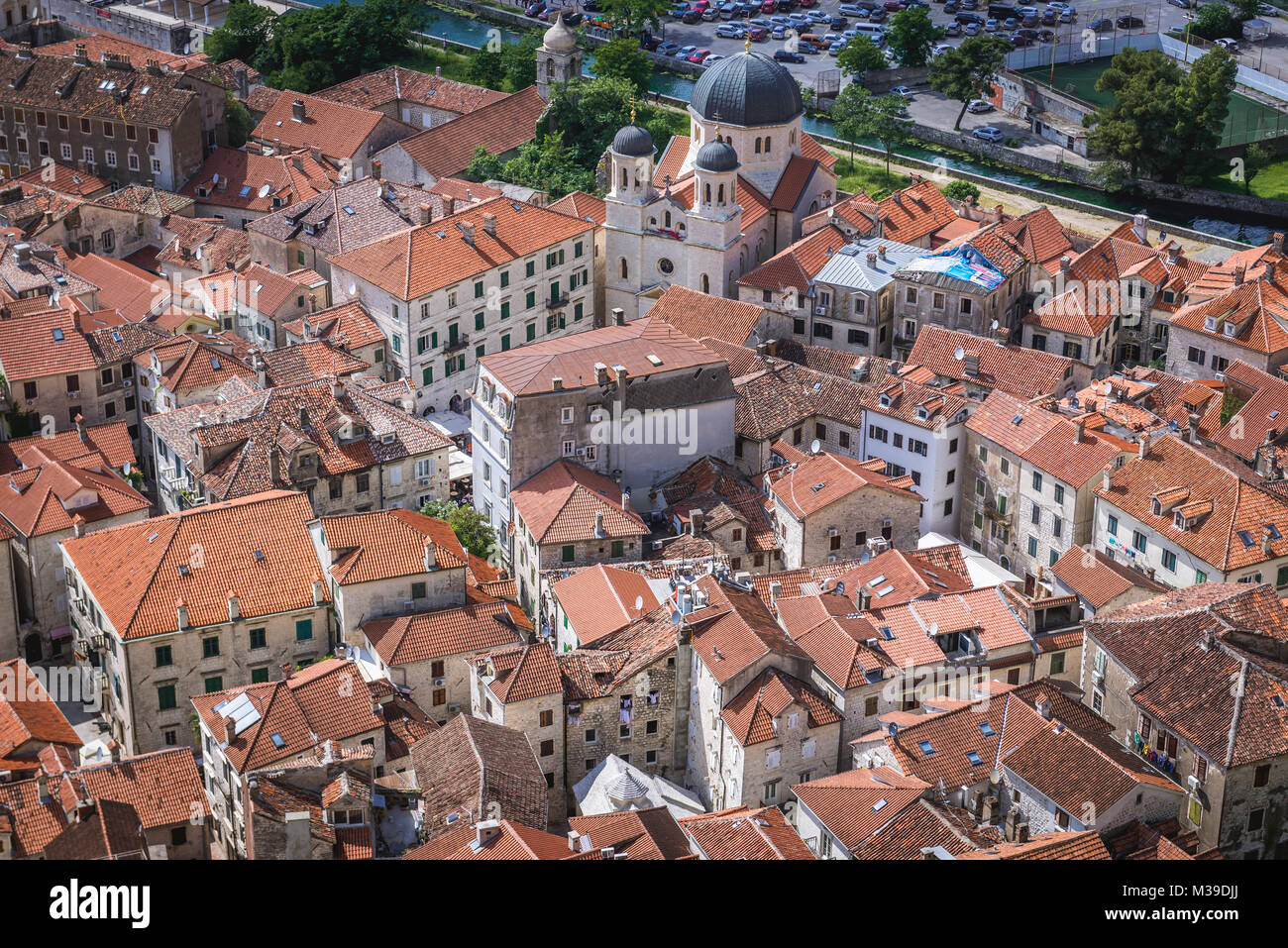 Old Town with Serbian Orthodox Church of Saint Nicholas in Kotor coastal city, located in Bay of Kotor of Adriatic Stock Photo