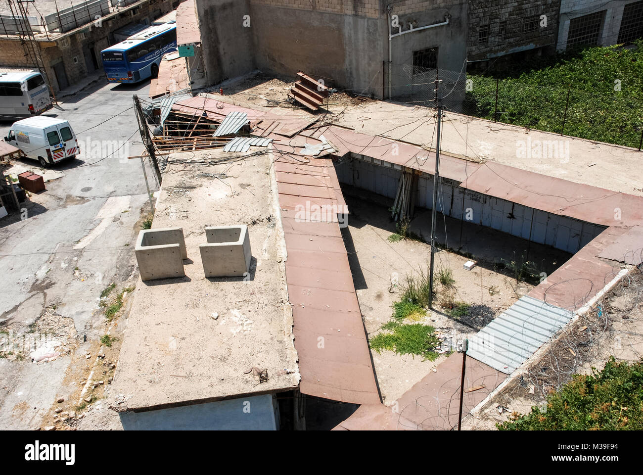 HEBRON, ISRAEL - AUGUST 04, 2010: Wide angle picture  from the topo of closed doors at the old market at Hebron, - Stock Image