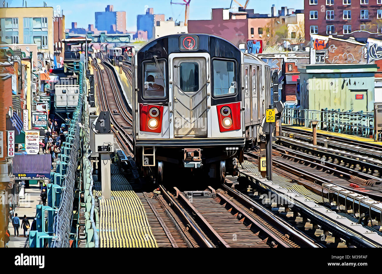 A photoshop manipulated photo of the elevated 7 subway train approaching a station in Jackson Heights, Queens New - Stock Image
