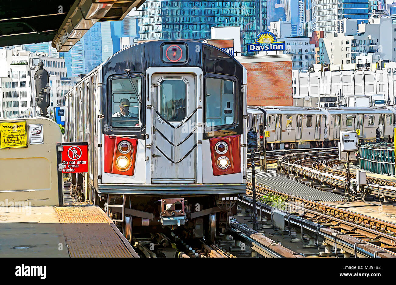 A photoshop manipulated photo of the elevated 7 subway train approaching a station in Long Island City, Queens New - Stock Image