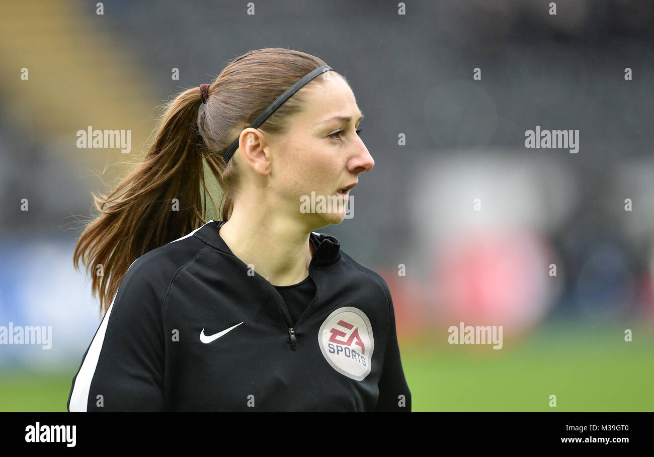 Match official Sian Massey-Ellis during the Premier League match at the Liberty Stadium, Swansea. - Stock Image