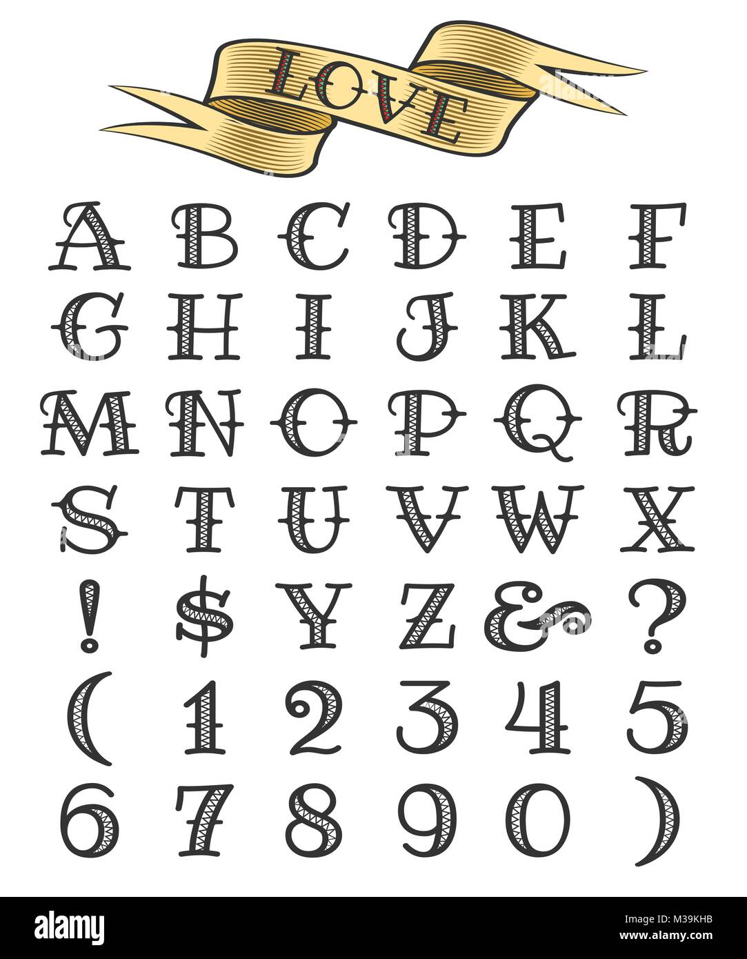 Set Of Tattoo Style Letters And Numbers Alphabeth For Your Design