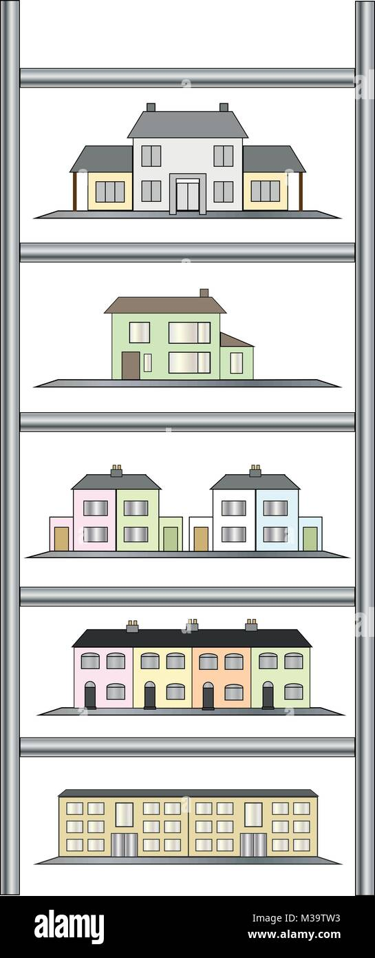 Different housing levels enclosed within ladder indicating rising value on property market. - Stock Vector