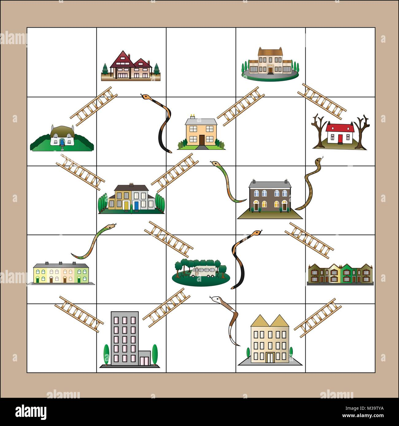 Different level housing enclosed within snakes and ladders board game indicating losses and gains in property market. - Stock Image