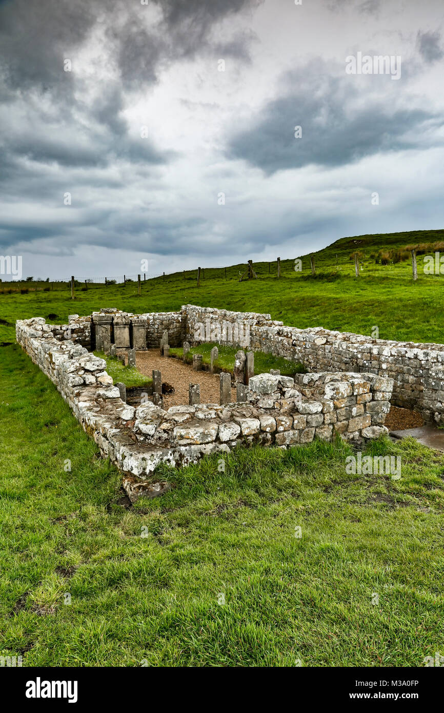 Roman ruins of Temple of Mithras, Hadrian's Wall, Carrawburgh, Newbrough, Northumberland, England, United Kingdom - Stock Image
