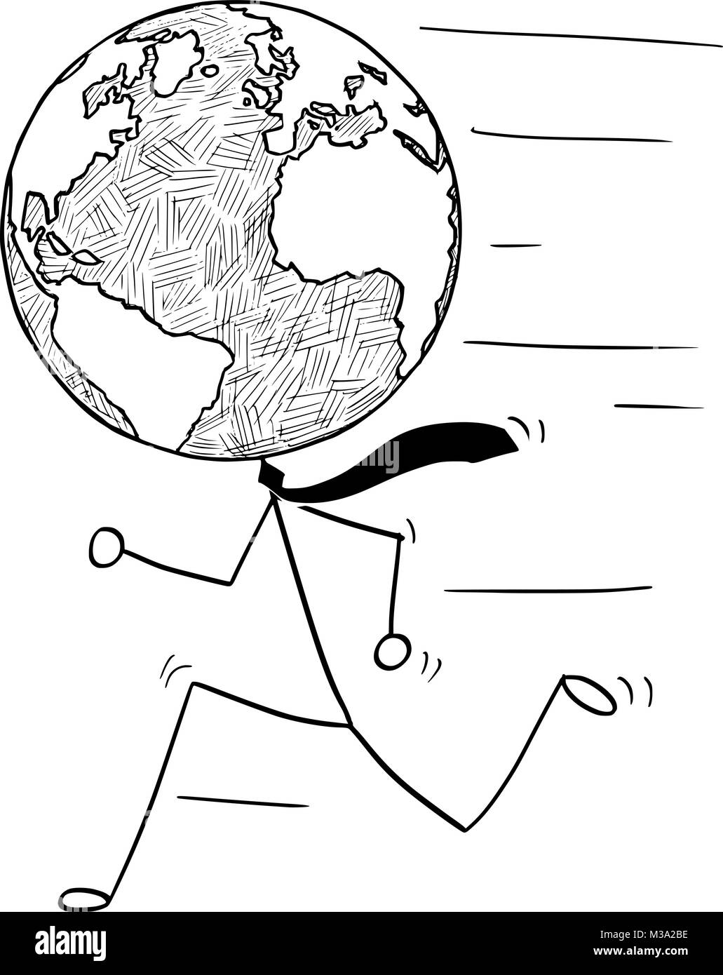Cartoon of Running Businessman with Earth World Globe as Head - Stock Image