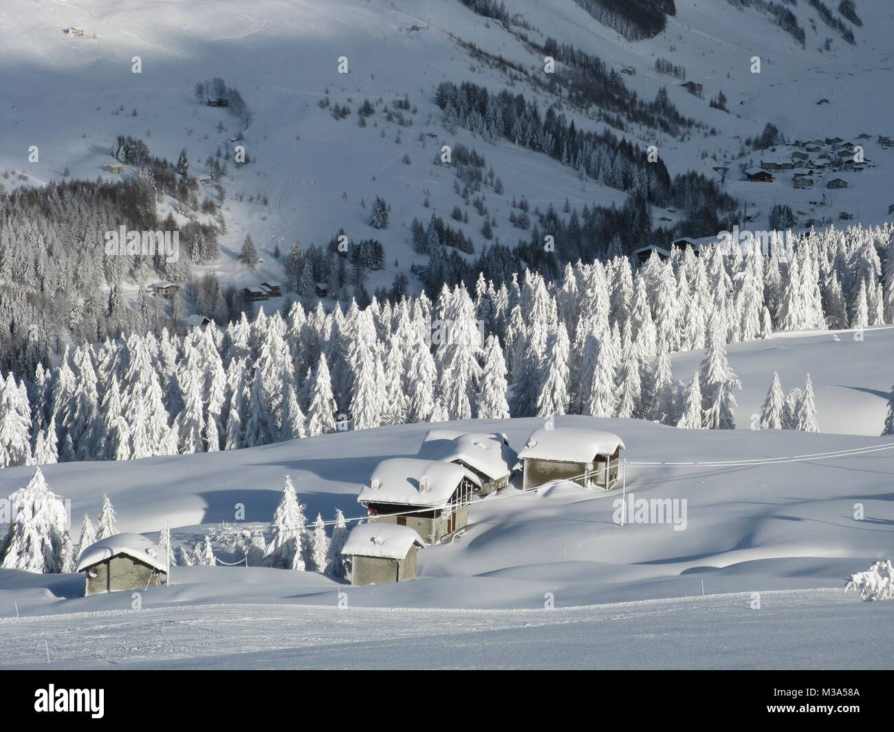 enchanted landscape after heavy snowfall - Stock Image