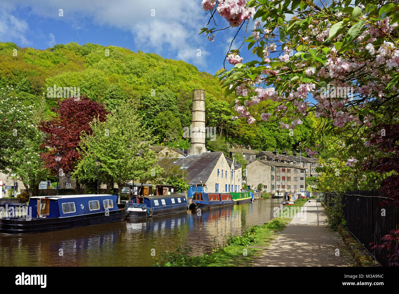 UK,West Yorkshire,Hebden Bridge,Rochdale Canal and Crossley Mill - Stock Image