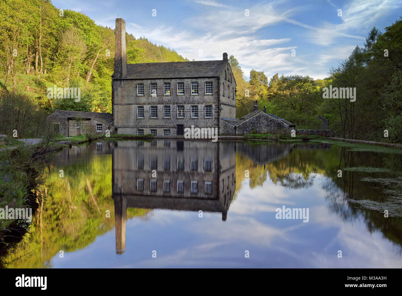 UK,West Yorkshire,Hebden Bridge,Hardcastle Crags,Gibson Mill and Pond - Stock Image