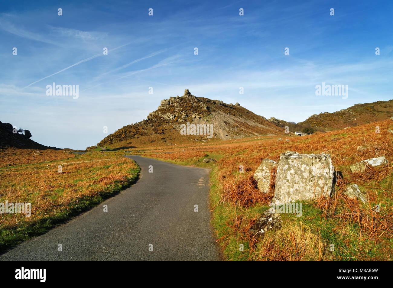 UK,North Devon,Exmoor,Valley of the Rocks,Looking towards Ragged Jack - Stock Image