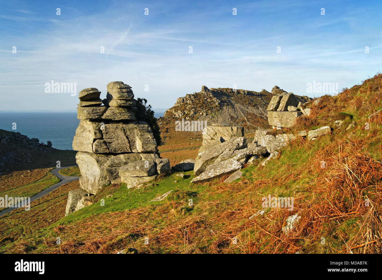 UK,North Devon,Exmoor,Valley of the Rocks,The Devils Cheesewring and Ragged Jack - Stock Image