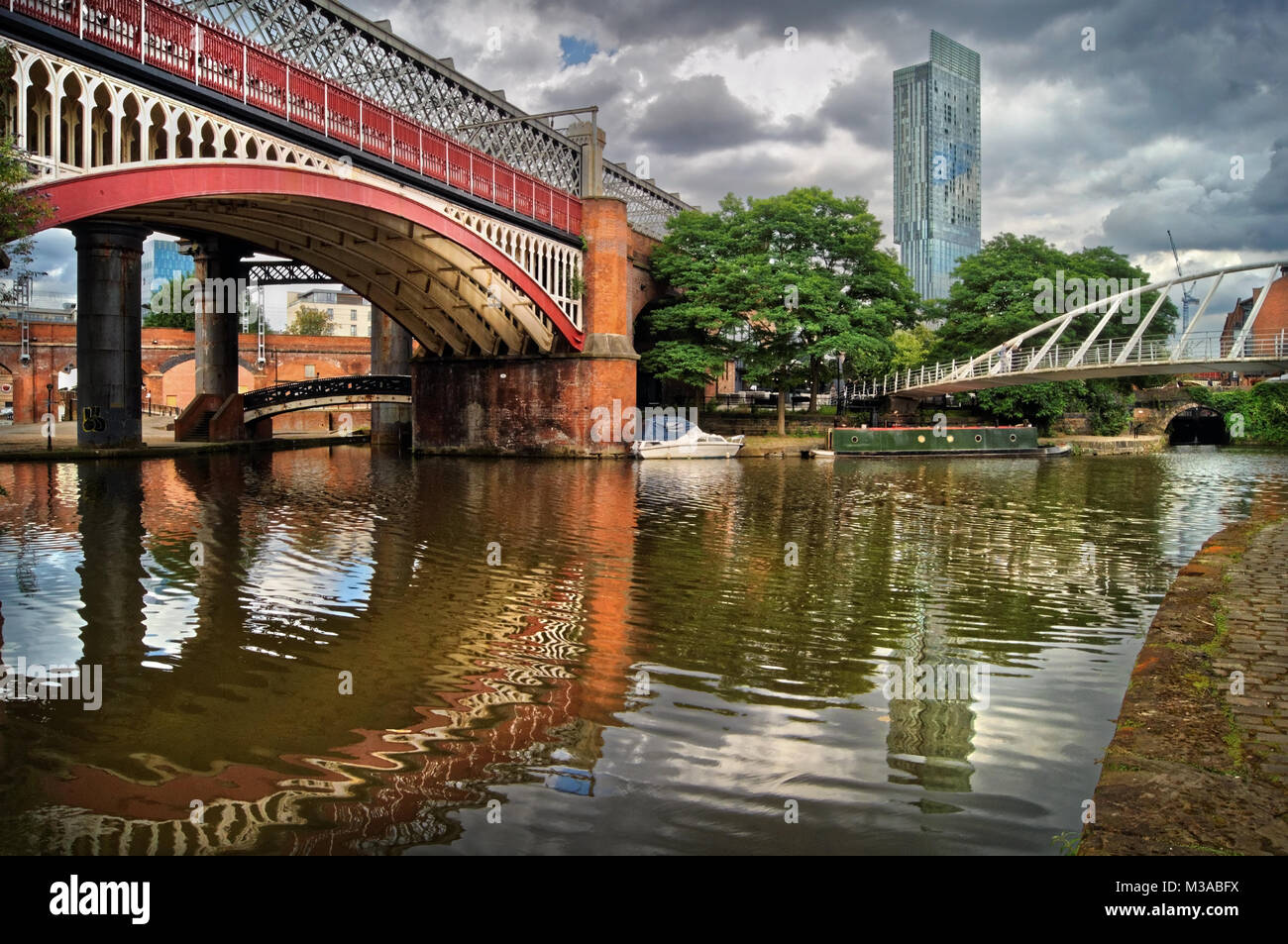 UK,Manchester,Castlefield,Bridgewater Canal & Beetham Tower in the distance - Stock Image