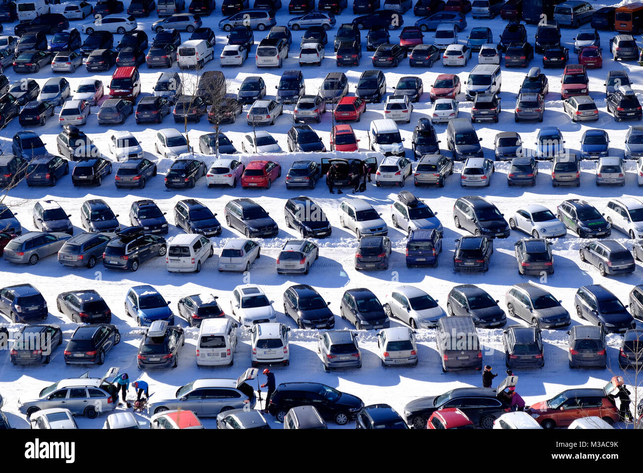 Ski resort Sudelfeld-Bayrischzell, Bavaria, Germany. Car park. - Stock Image