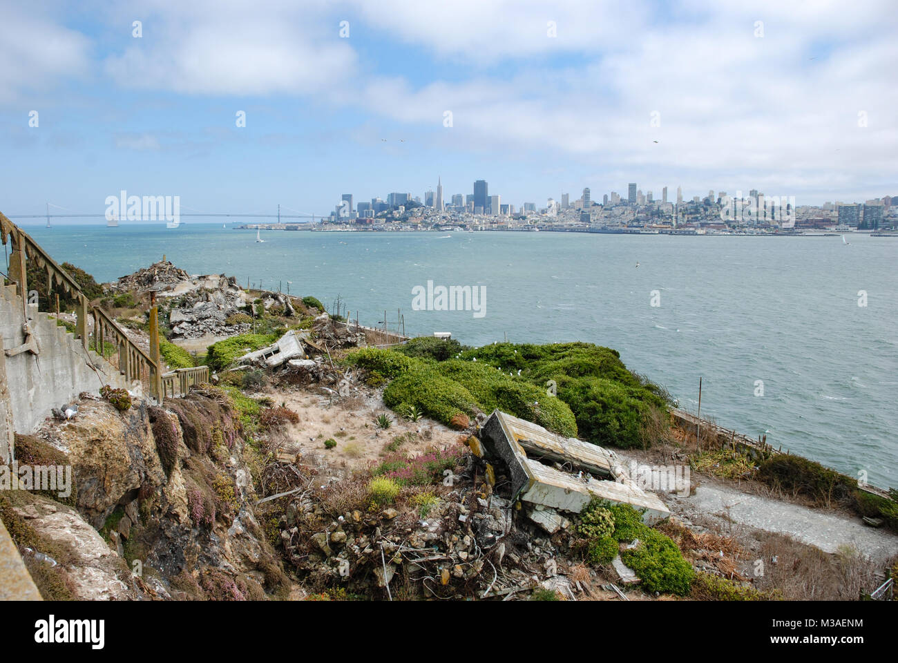 Alcatraz Island, Alcatraz Views, and San Francisco Bay, A View of Freedom, California - Stock Image
