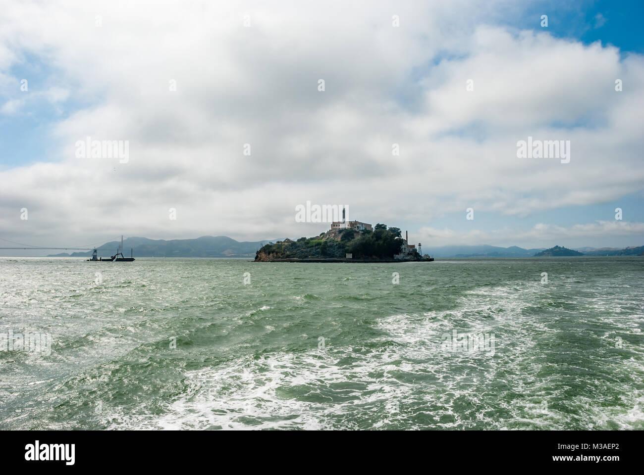 Alcatraz Island, Alcatraz Views, The Rock, San Francisco Bay, Green Water and Clouds, Boat Tour, California - Stock Image