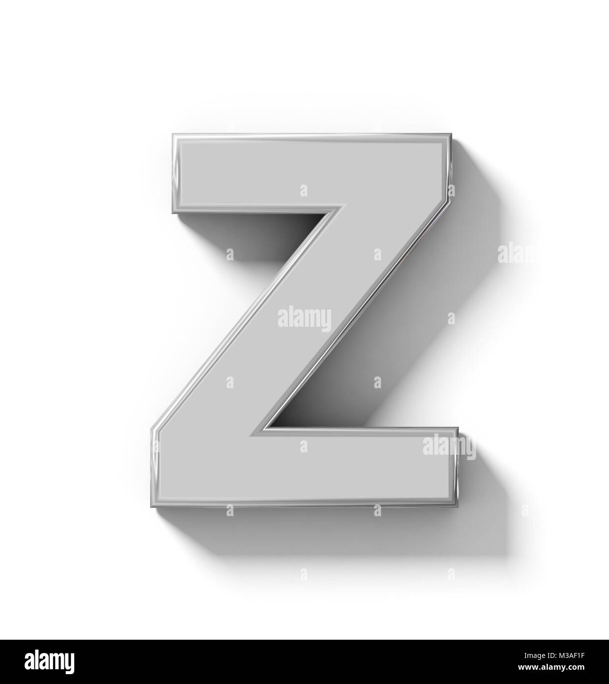 letter Z 3D silver isolated on white with shadow - orthogonal projection - 3d rendering - Stock Image
