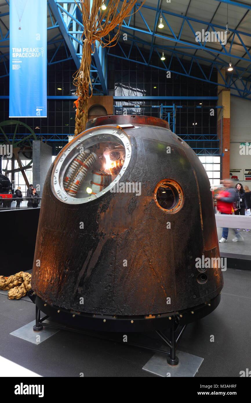 Tim Peake's Spacecraft the Soyuz TMA-19M Decent Module on display at the National Railway Museum in York Stock Photo
