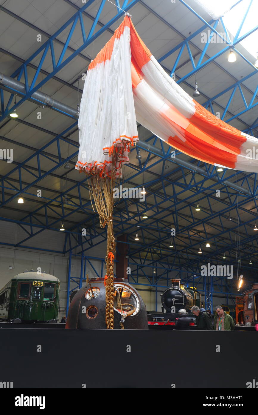 Tim Peake's Spacecraft the Soyuz TMA-19M Decent Module on display at the National Railway Museum in York Stock Photo