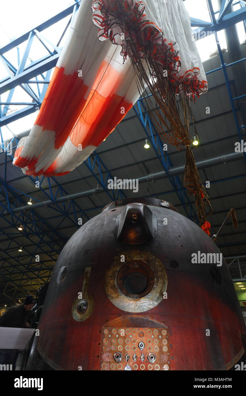 Tim Peake's Spacecraft the Soyuz TMA-19M Decent Module on display at the National Railway Museum in York - Stock Image