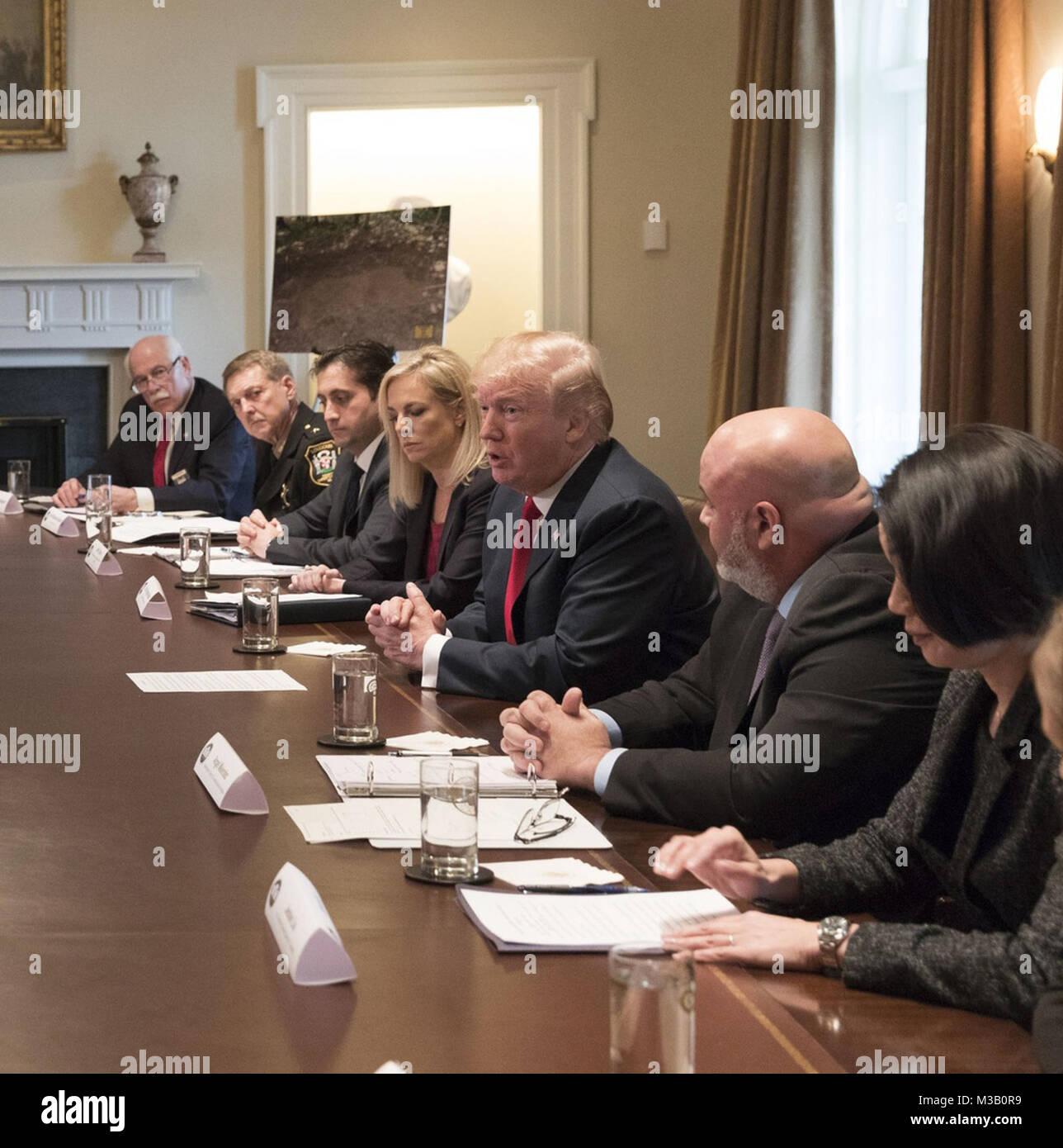 WASHINGTON, DC - FEBRUARY 06: President Donald J. Trump, joined by U.S. Secretary of Homeland Security Kirstjen - Stock Image