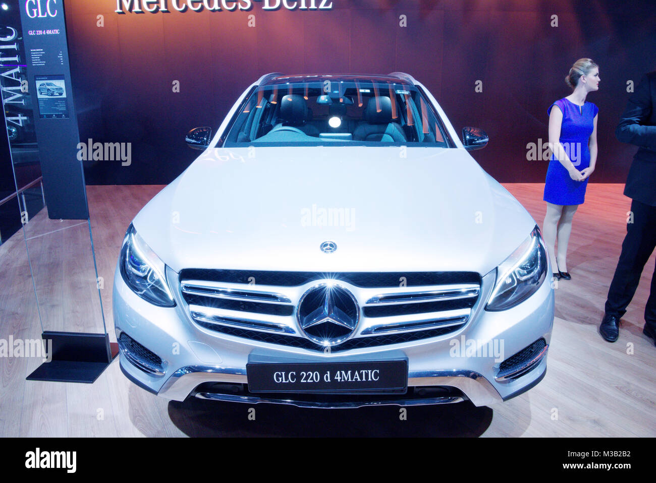 Greater Noida, India. 9th February 2018. Mercedes-Benz GLC 22d 4Matic SUV is on display at the Auto Expo 2018 at - Stock Image