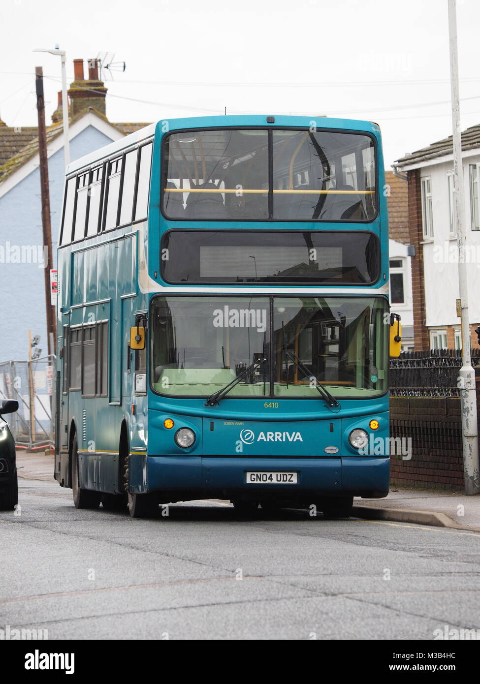 Sheerness, Kent, UK. 10th Feb, 2018. A broken down Arriva double decker bus caused an obstruction in Marine Parade. Stock Photo