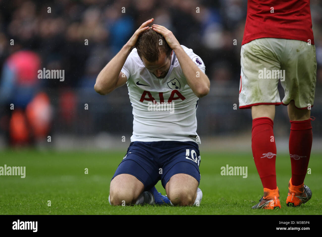 London, UK. 10th Feb, 2018. Harry Kane (TH) after a miss at the English Premier League football match between Tottenham Stock Photo