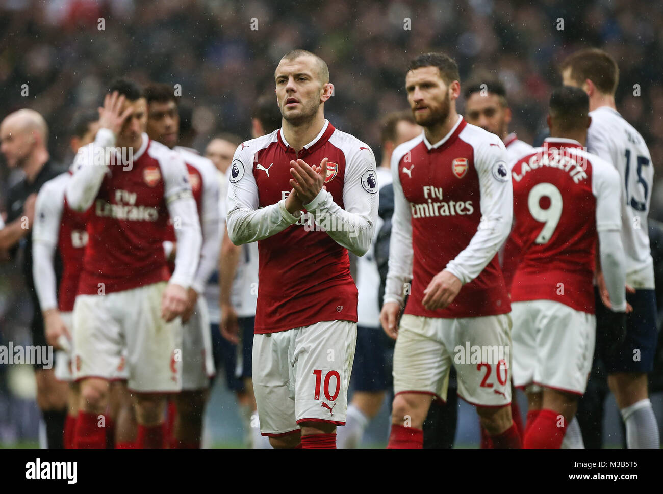 A dejected Jack Wilshere of Arsenal at the final whistle during the Premier League match between Tottenham Hotspur - Stock Image