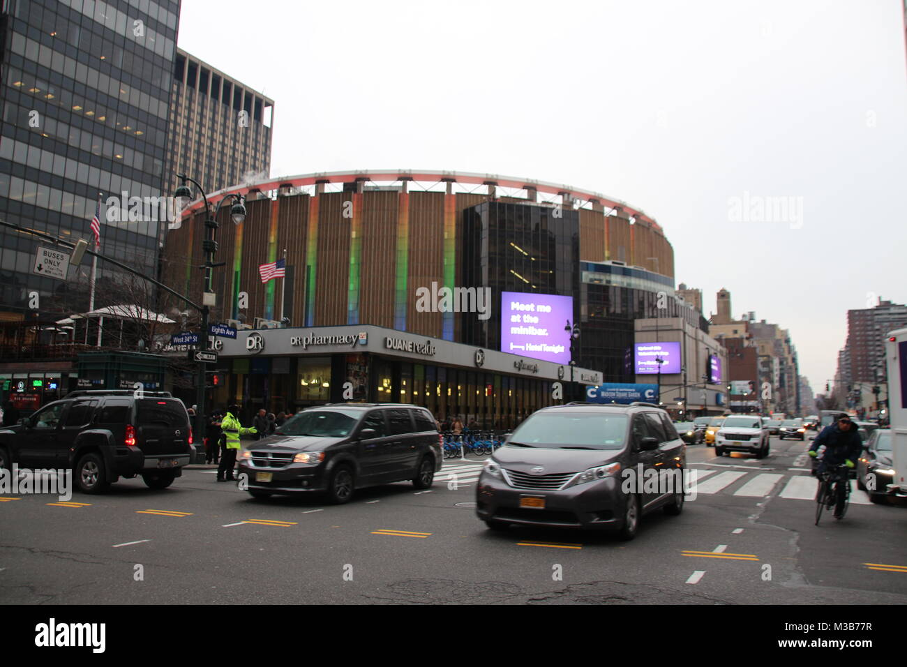 New York, USA. 9th Feb, 2018. Famous multi-purpose venue Madison Square Garden towers over Penn Station in New York, Stock Photo