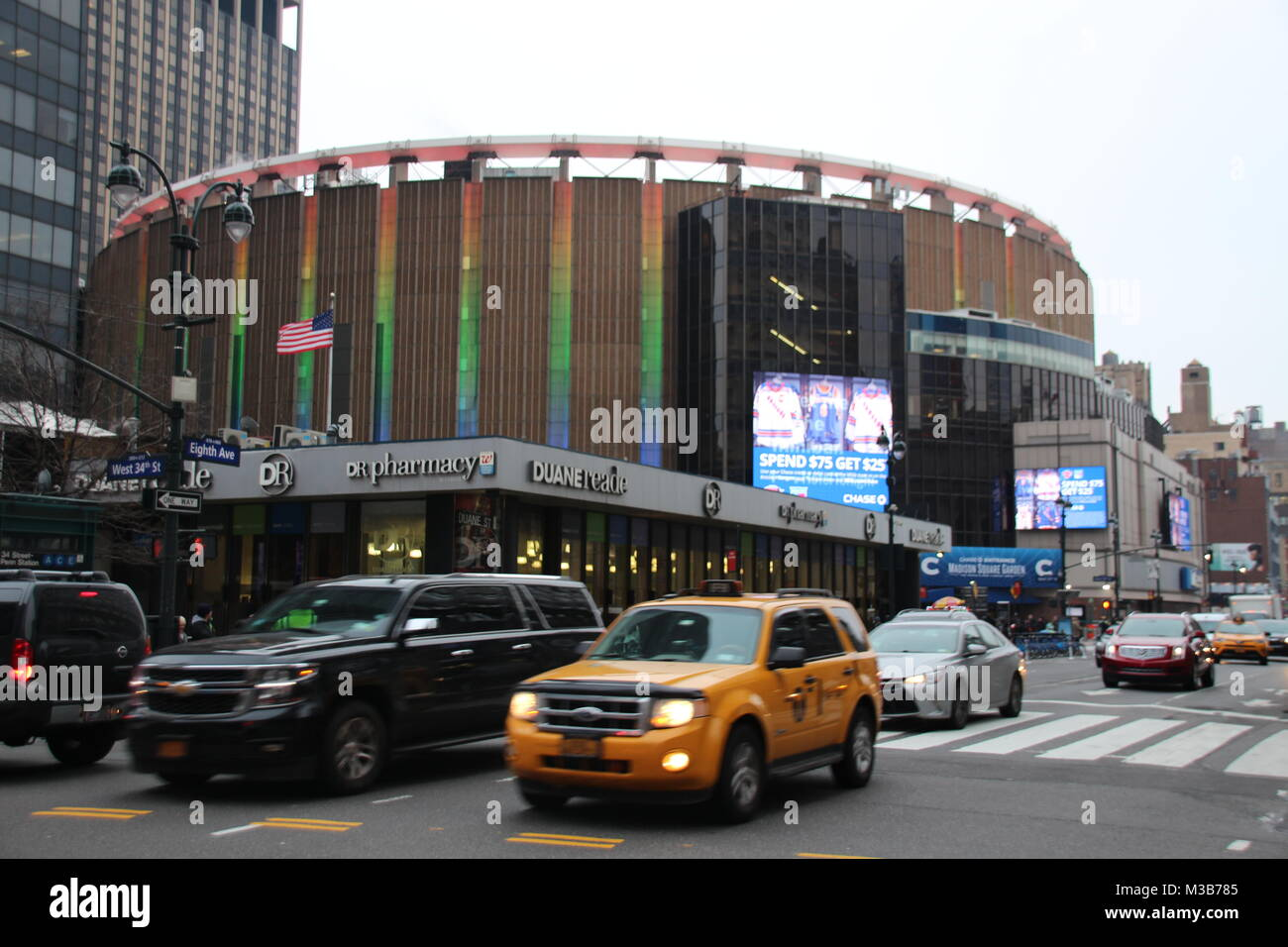 New York, USA. 9th Feb, 2018. Famous venue Madison Square Garden towers over Penn Station in New York, US, 9 February Stock Photo