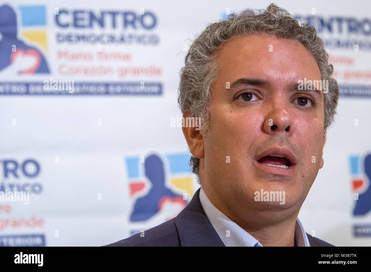 Miami, Estados Unidos. 10th Feb, 2018. The presidential candidate for the Democratic Center Iván Duque speaks - Stock Image