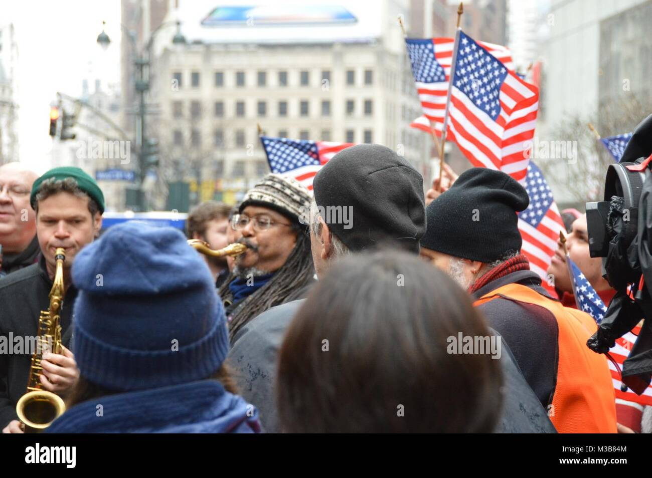 Manhattan, New York, USA. 10th Feb, 2018. Hundreds of demonstrators and immigrant rights activists gathered in midtown Stock Photo