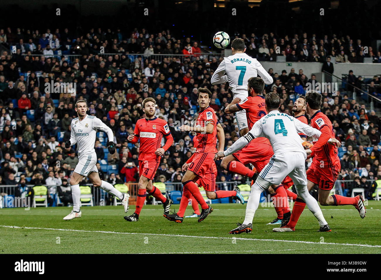 Cristiano Ronaldo (Real Madrid) fights for the header with La Liga match between Real Madrid vs Real Sociedad at - Stock Image