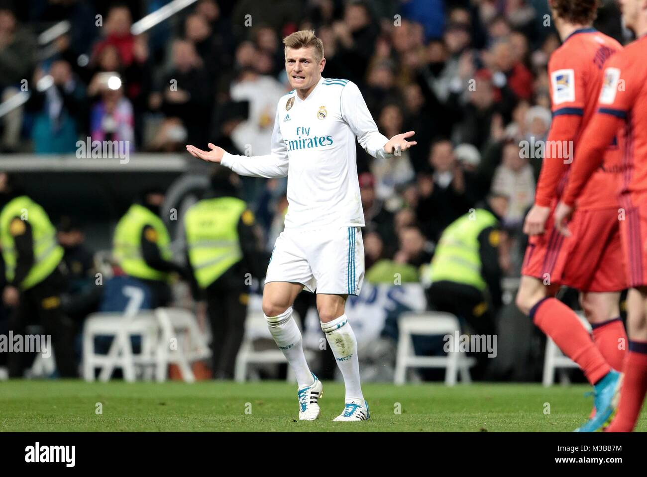Madrid, Spain. 10th Feb, 2018. Real Madrid's Tony Kroos reacts during a Spanish league match between Real Madrid - Stock Image