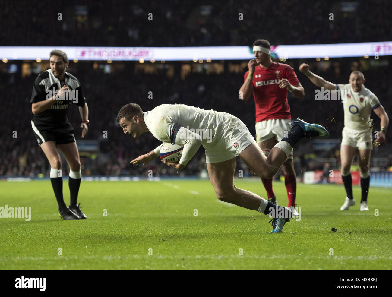 England's Jonny May scores his sides second try  Photographer Ashley Western  England v Wales  World Copyright © Stock Photo
