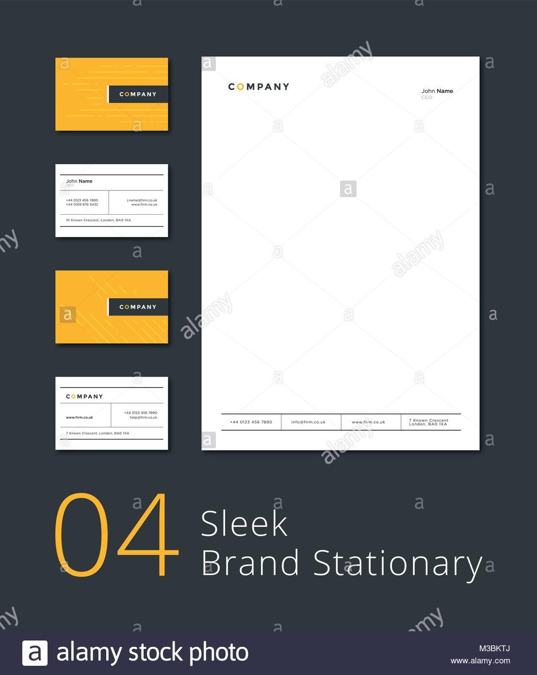Sleek stationary template. Business card & letterhead Stock Vector ...