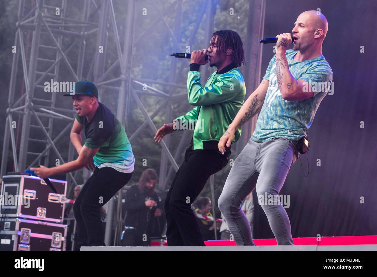 Culcha Candela ( Hip-Hop-Band ) beim 94,3 rs2 Sommerfestival am 16. August 2014 in der Berliner  Kindl-Bühne Wuhlheide. Stock Photo
