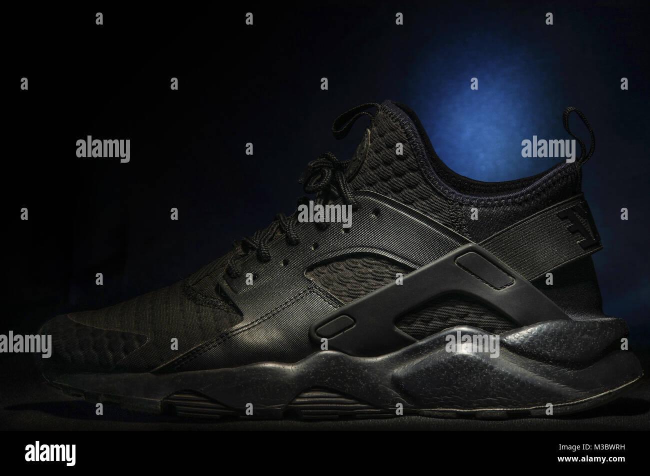 9e9bc0179c45 Nike Air Huarache Ultra SE Premium Triple Black - Stock Image