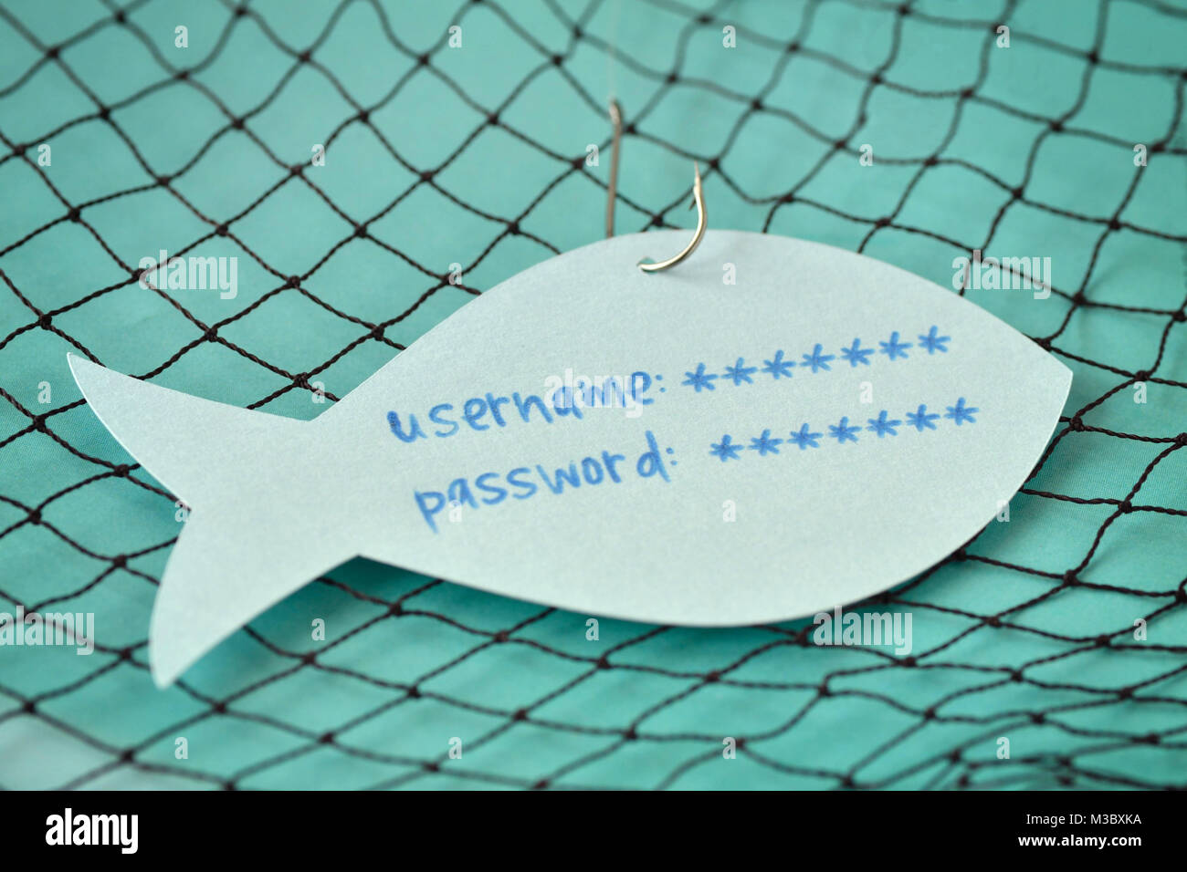 Username and password written on a paper note in the shape of a fish attached to a hook - Phishing and internet - Stock Image