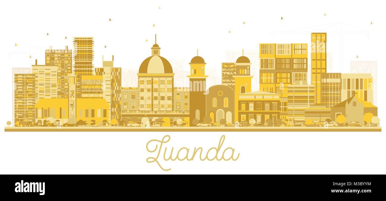 Luanda Angola City Skyline Golden Silhouette. Vector Illustration. Simple Flat Concept for Tourism Presentation, - Stock Vector