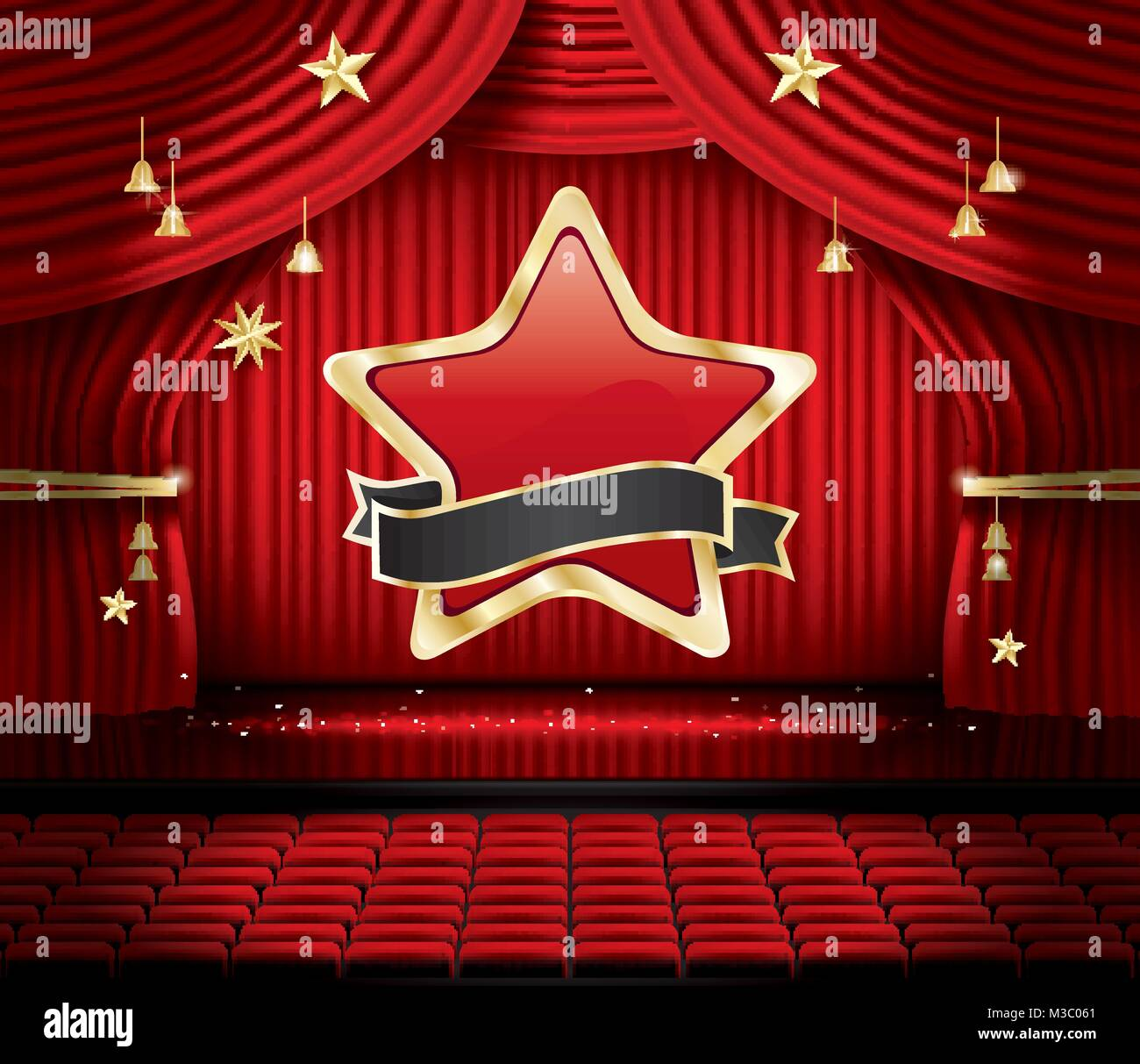 Red Stage Curtain With Star Seats And Copy Space Vector