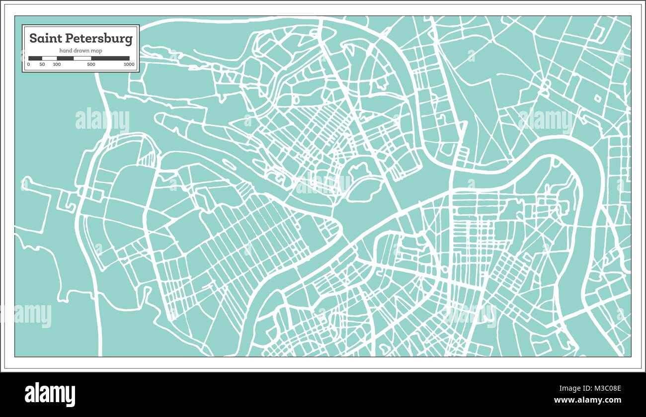 Saint Petersburg Russia City Map In Retro Style Outline Map Vector