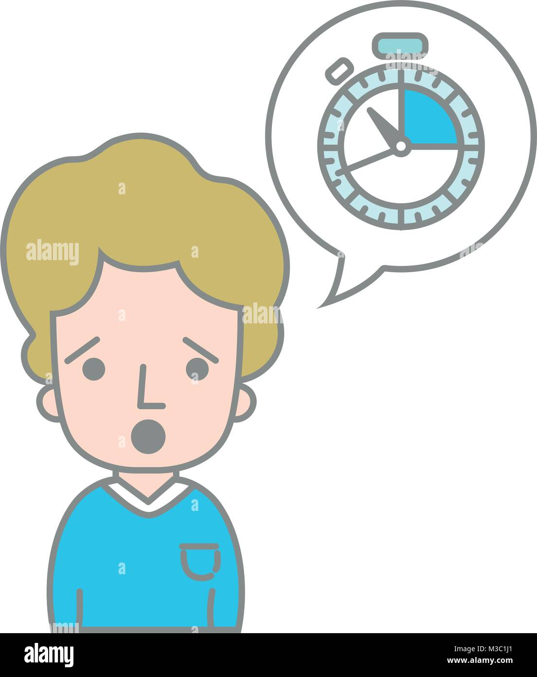 line color man with t-shirt and choronometer inside chat bubble - Stock Image