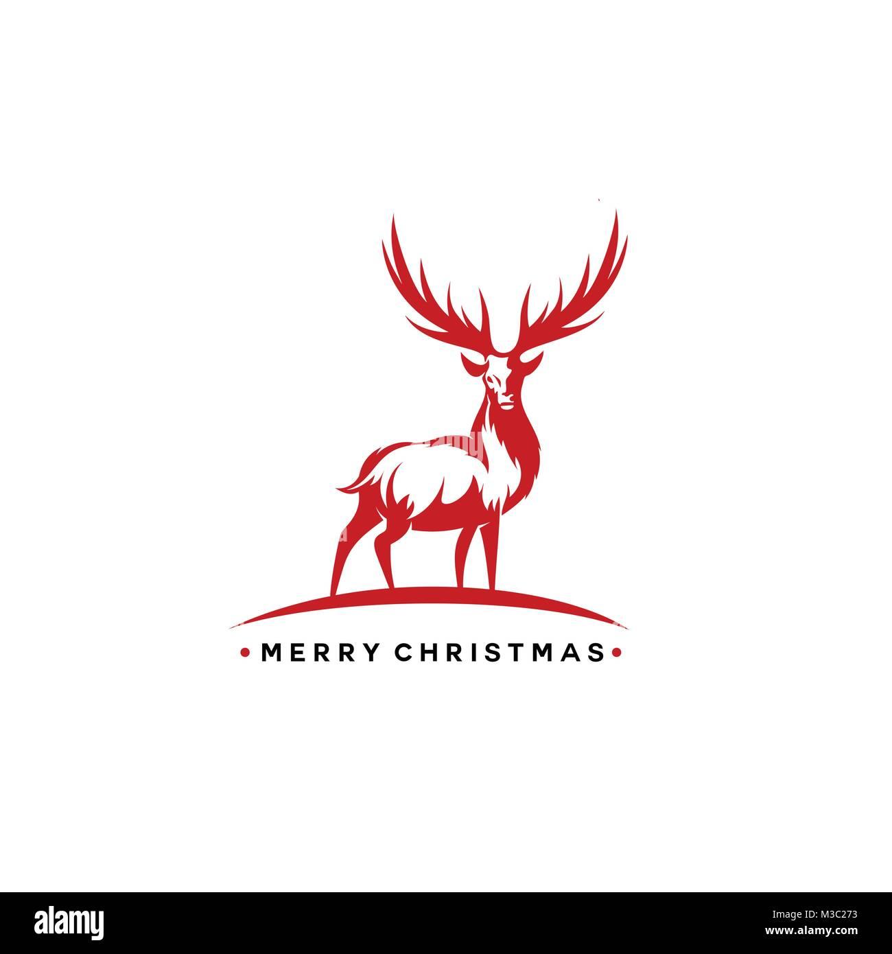Christmas deer vector illustration. - Stock Image