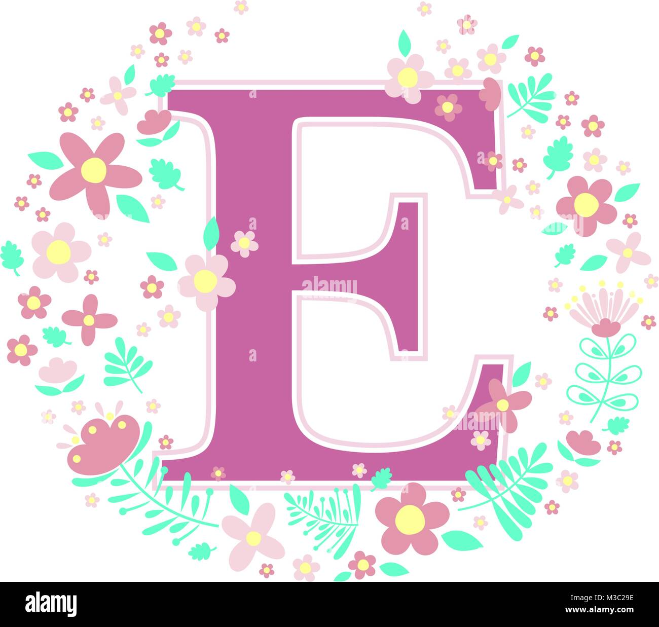 initial letter e with decorative flowers and design elements