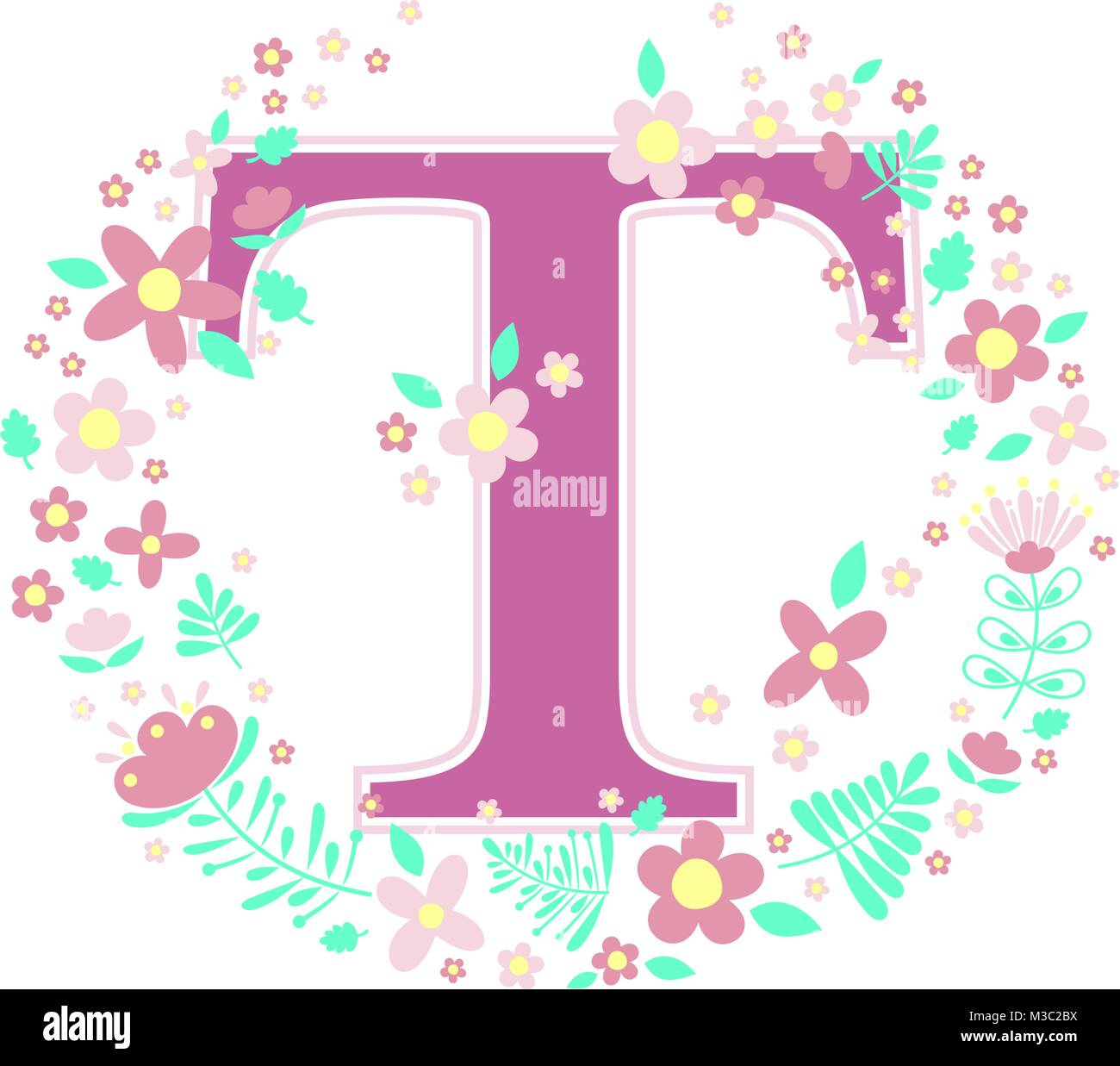 Initial Letter T With Decorative Flowers And Design Elements Isolated On White Background Can Be Used For Baby Name Nursery Decoration Spring Theme