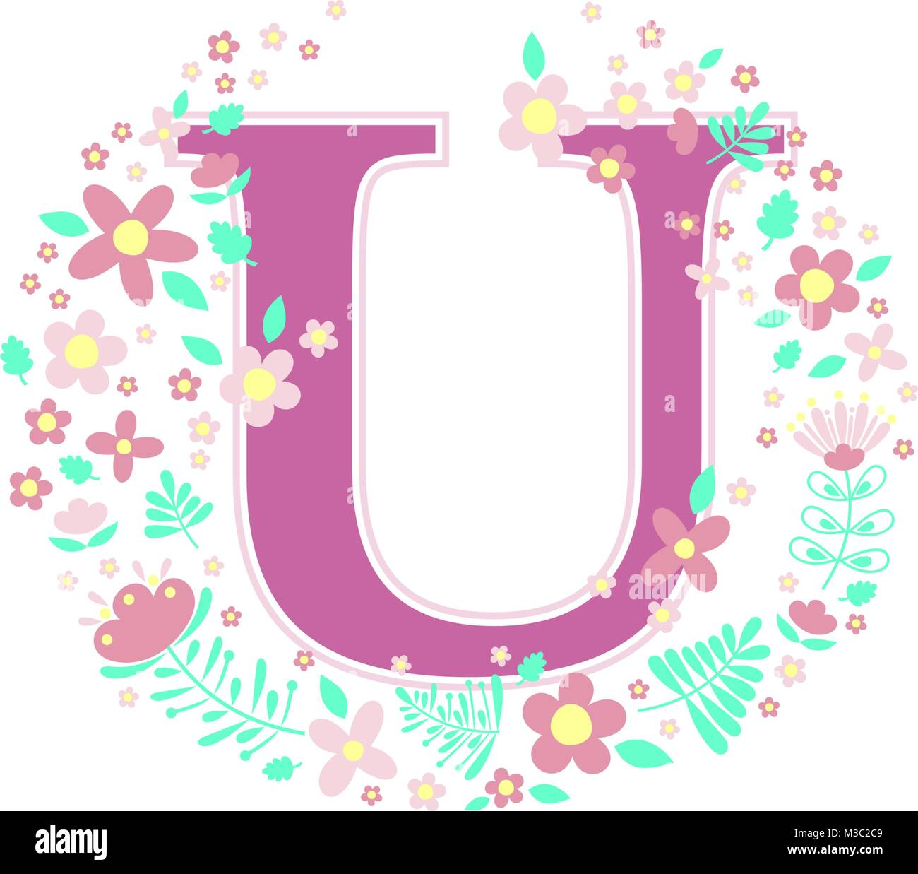 Initial Letter U With Decorative Flowers And Design Elements