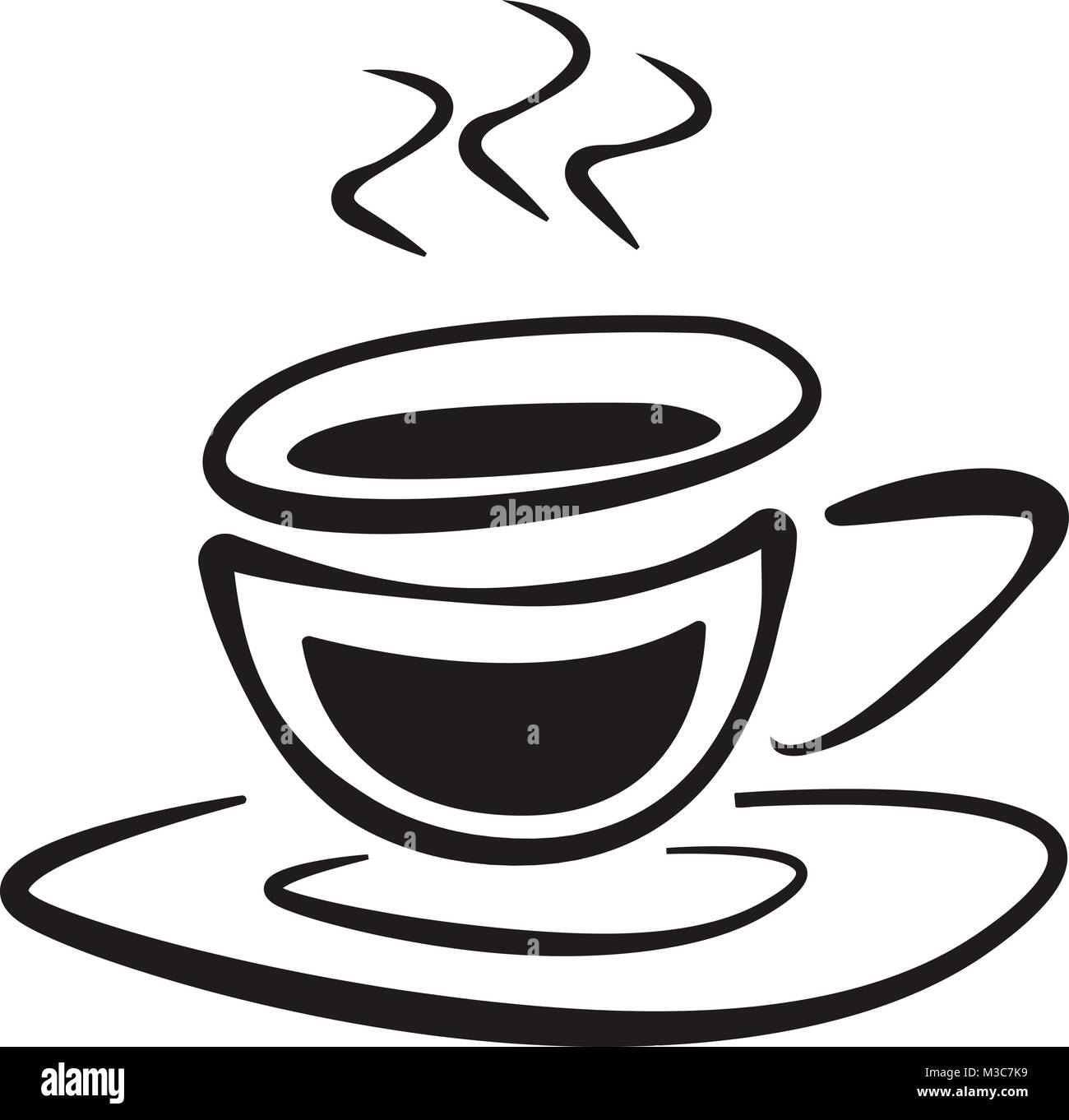 Cup Of Coffee With Saucer Doodle Drawing Vector Icon Stock Vector Image Art Alamy