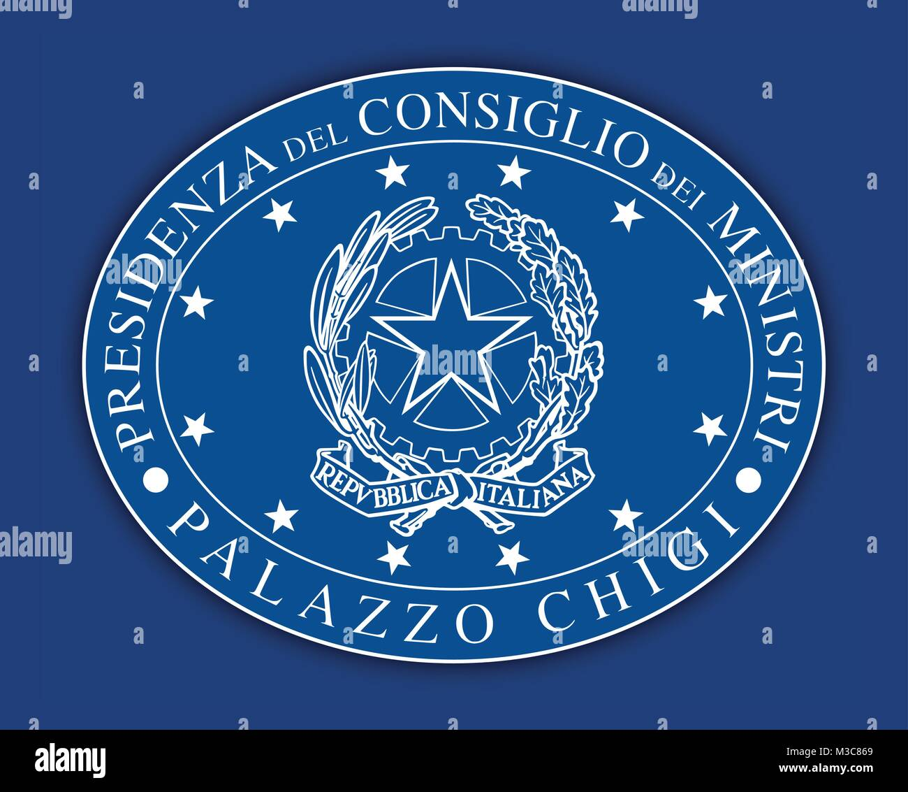 Italian government oval seal symbol, Rome, Italy - Stock Vector