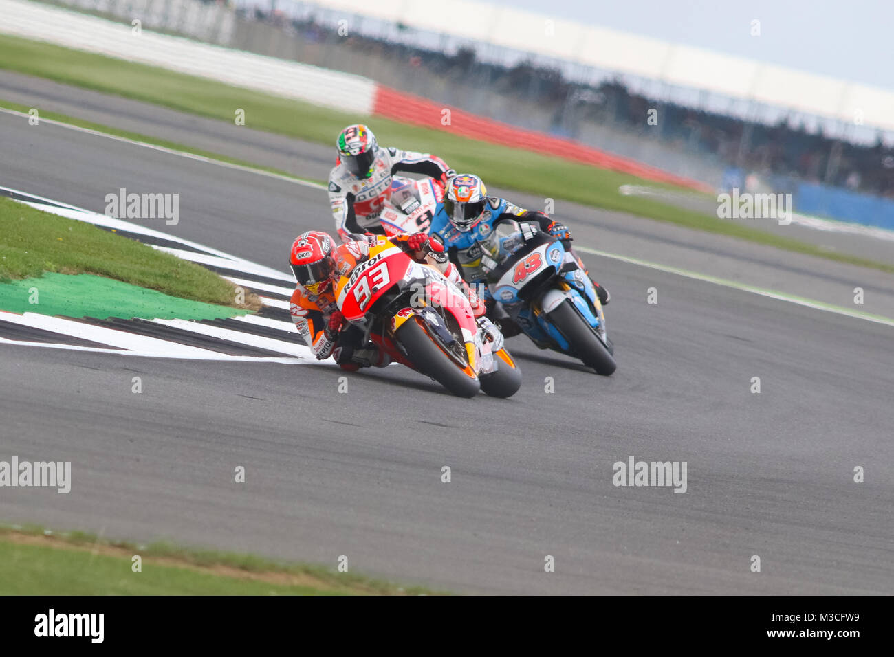 Marc Marquez leads Jack Miller and Danillo Petrucci during Qualifying for the Octo British Gand Prix 2016 - Stock Image